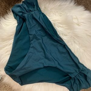 High-mid waist teal bikini bottoms